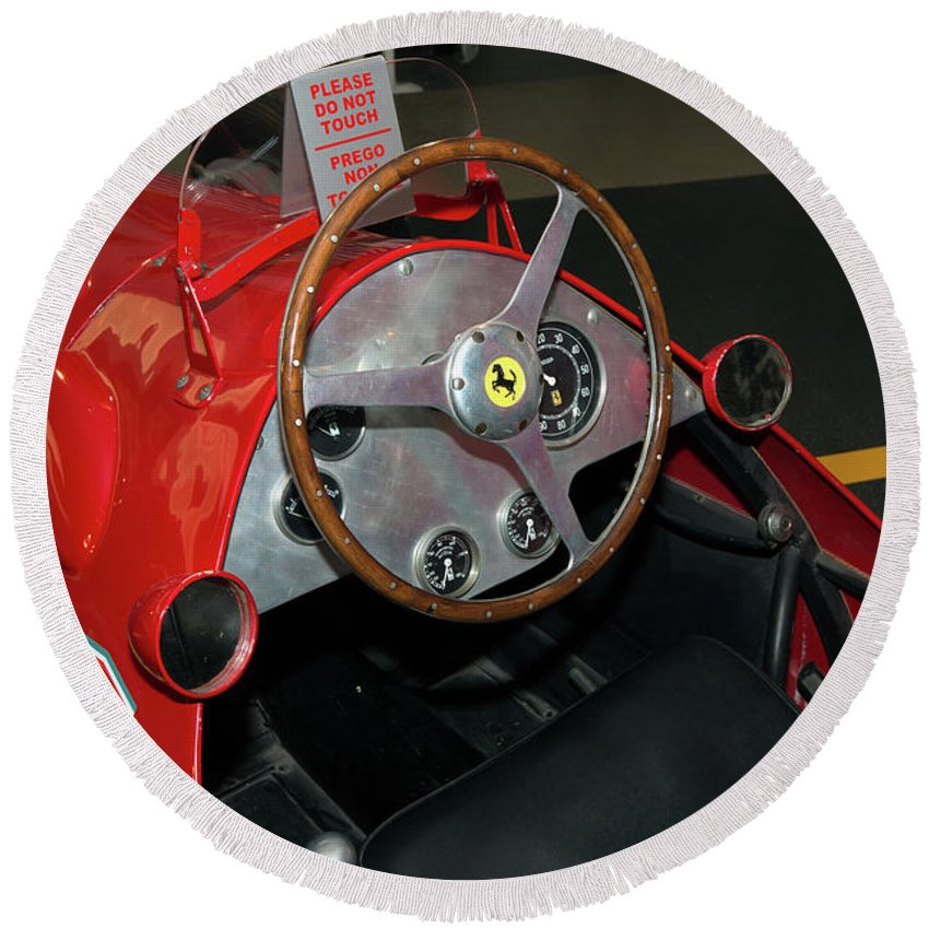 Ferrari 166 F2 Cockpit Museo Ferrari Round Beach Towel featuring the photograph Ferrari 166 F2 Cockpit Museo Ferrari by Paul Fearn