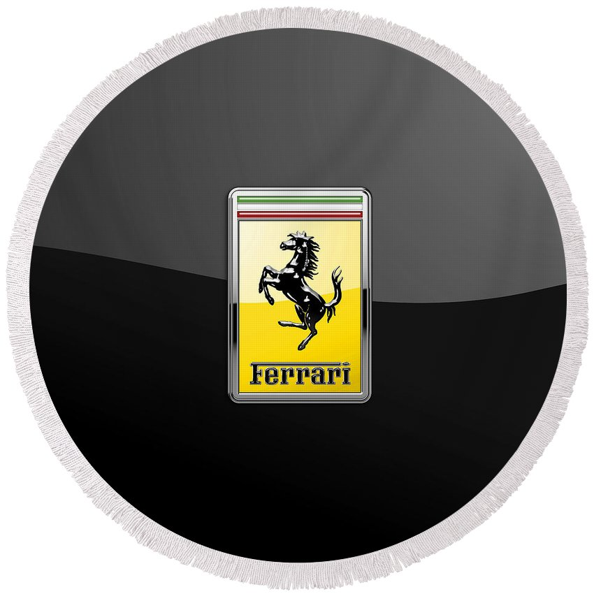 �auto Badges� Collection By Serge Averbukh Round Beach Towel featuring the photograph Ferrari 3D Badge- Hood Ornament on Black by Serge Averbukh