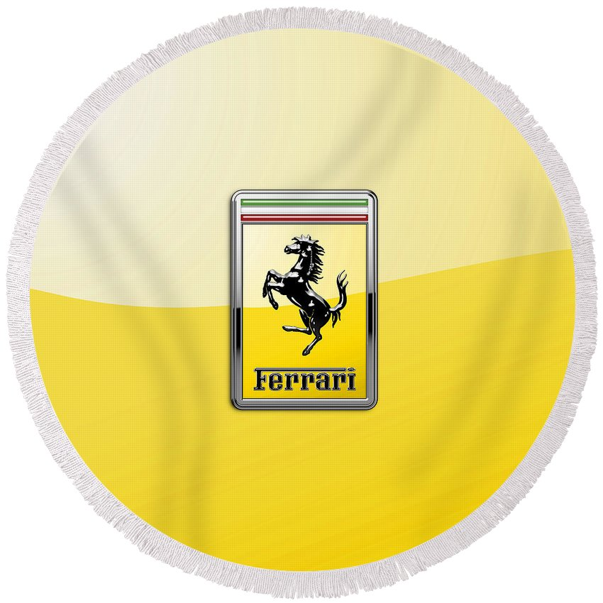 �auto Badges� Collection By Serge Averbukh Round Beach Towel featuring the photograph Ferrari 3D Badge- Hood Ornament on Yellow by Serge Averbukh