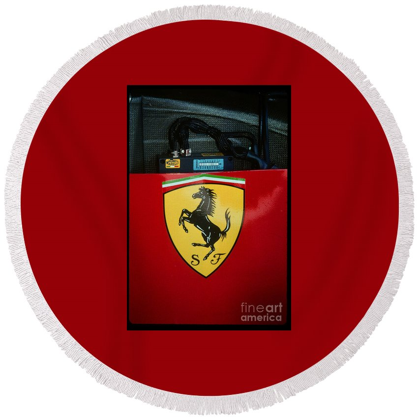 The Prancing Horse Of Ferrari On Nigel Mansells Racer. Round Beach Towel featuring the photograph Ferrari F1 Sidepod Emblem by Paolo Govoni
