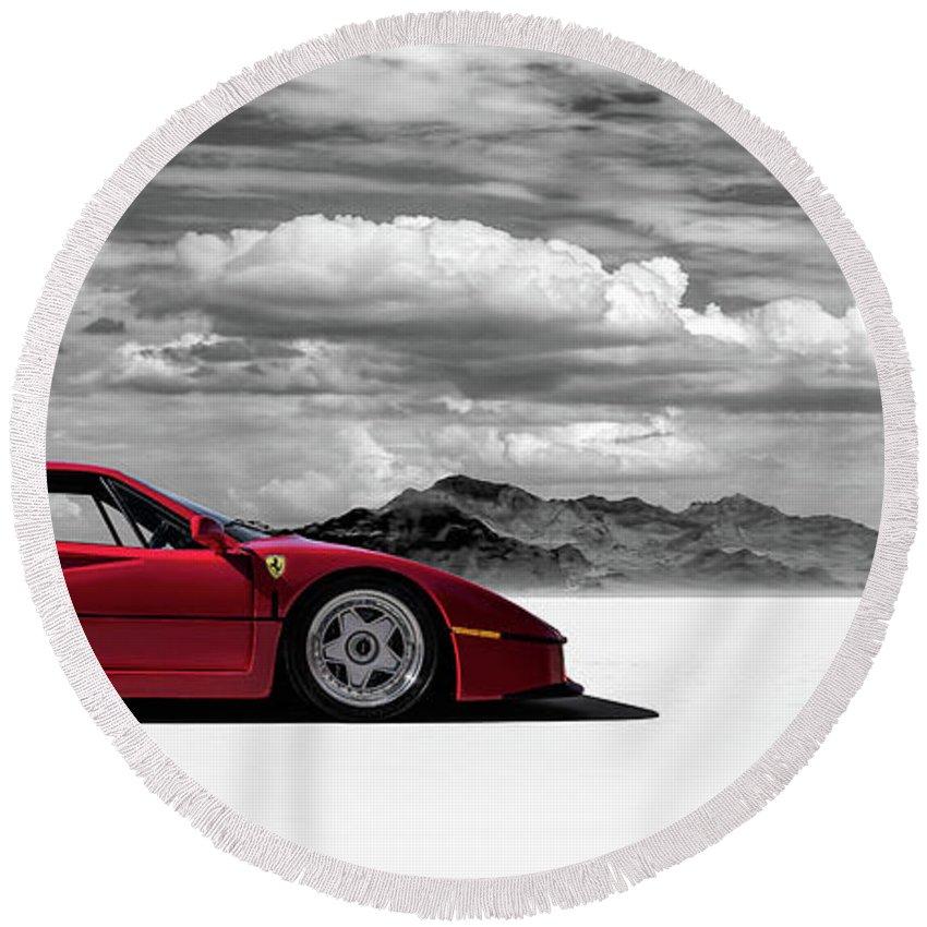 Ferrari Round Beach Towel featuring the digital art Ferrari F40 by Douglas Pittman