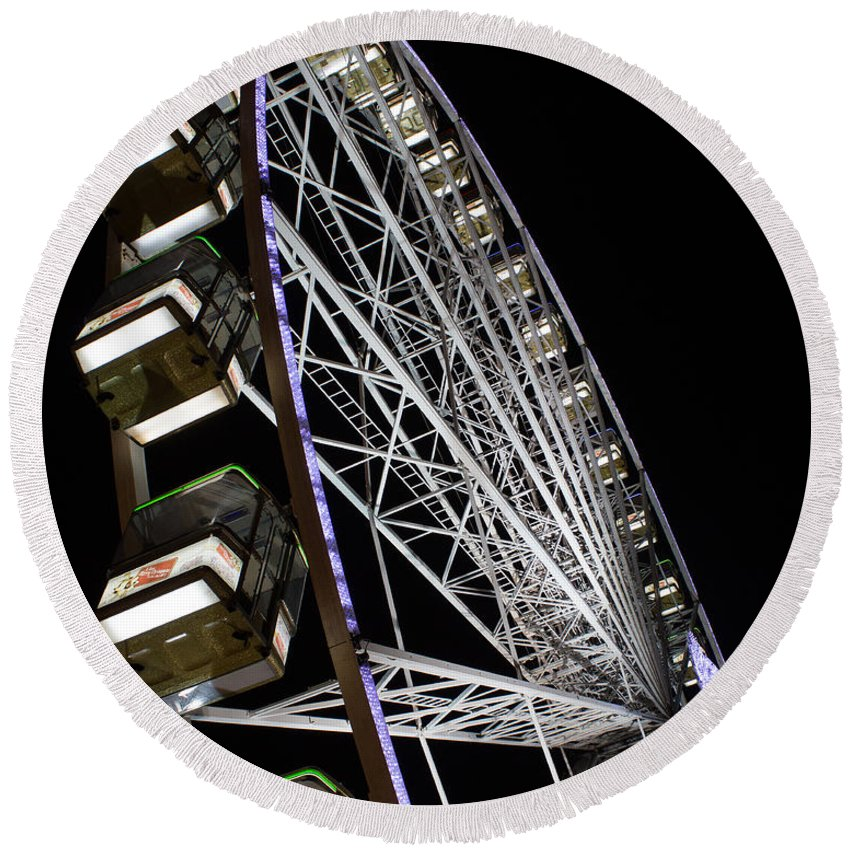 December Round Beach Towel featuring the photograph Ferris Wheel At Night 16x20 by Leah Palmer