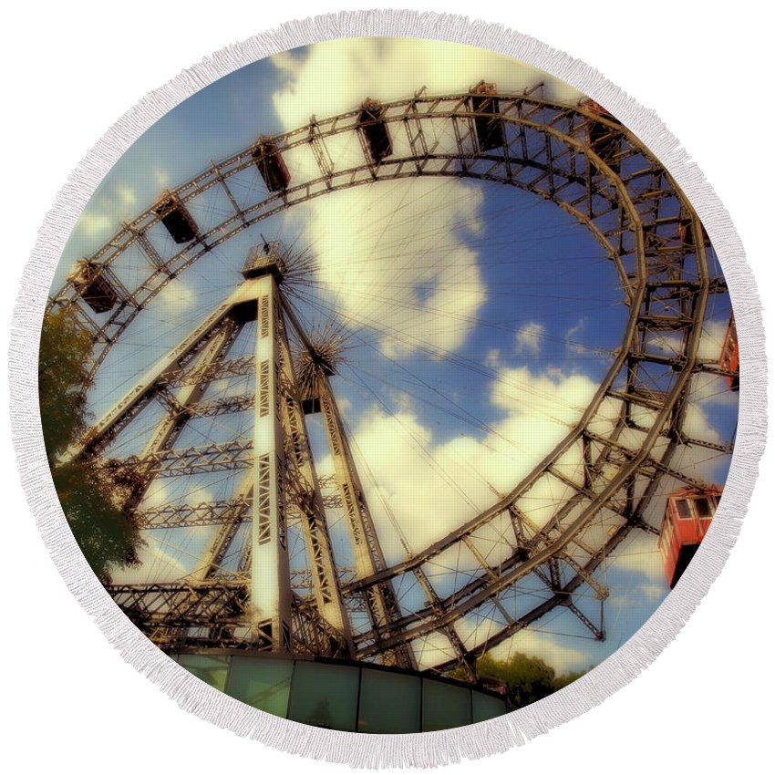 Ferris Wheel Round Beach Towel featuring the photograph Ferris Wheel At The Prater by Madeline Ellis