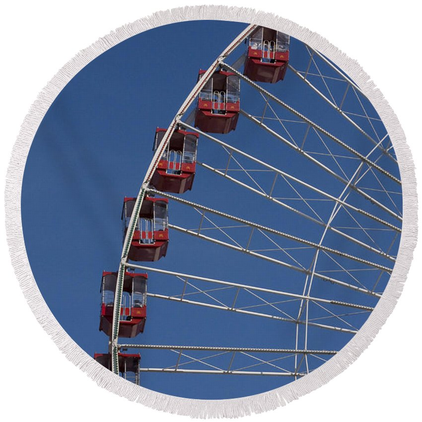 Chicago Navy Pier Windy City Ferris Wheel Attraction Blue Sky Red Tourist Tourism Travel Round Beach Towel featuring the photograph Ferris Wheel II by Andrei Shliakhau