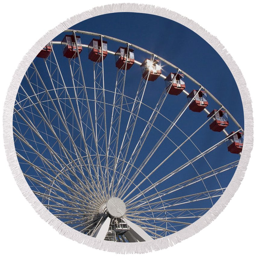 Chicago Ferris Wheel Navy Pier Windy City Attraction Tourist Tourism Travel Blue Sky Round Beach Towel featuring the photograph Ferris Wheel IIi by Andrei Shliakhau