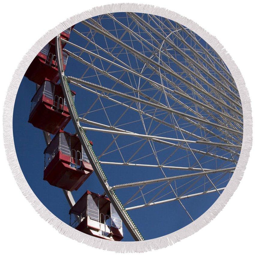 Chicago Windy City Ferris Wheel Navy Pier Attraction Tourism Round Tourist Travel Blue Sky Park Round Beach Towel featuring the photograph Ferris Wheel Iv by Andrei Shliakhau