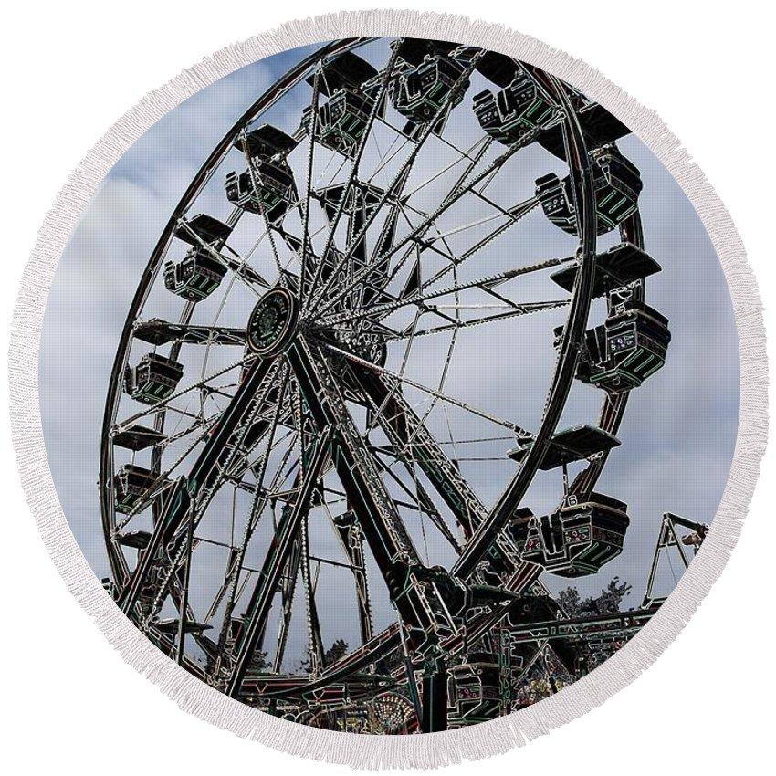 Ferris Wheel Round Beach Towel featuring the digital art Ferris Wheel by Ron Bissett