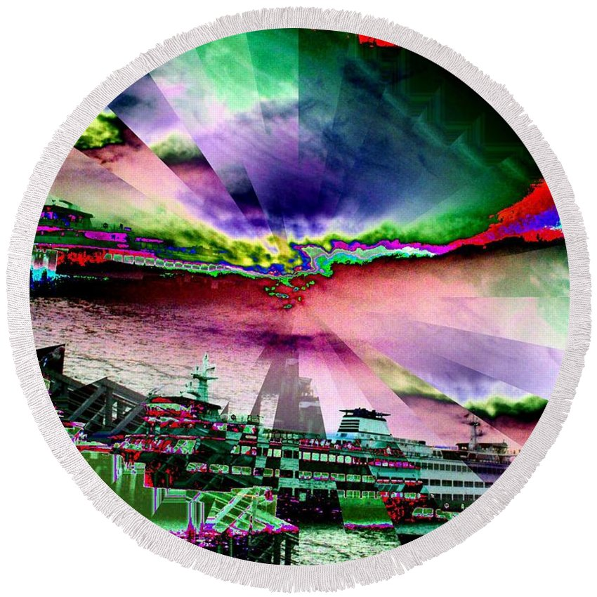 Seattle Round Beach Towel featuring the digital art Ferry Illusion by Tim Allen