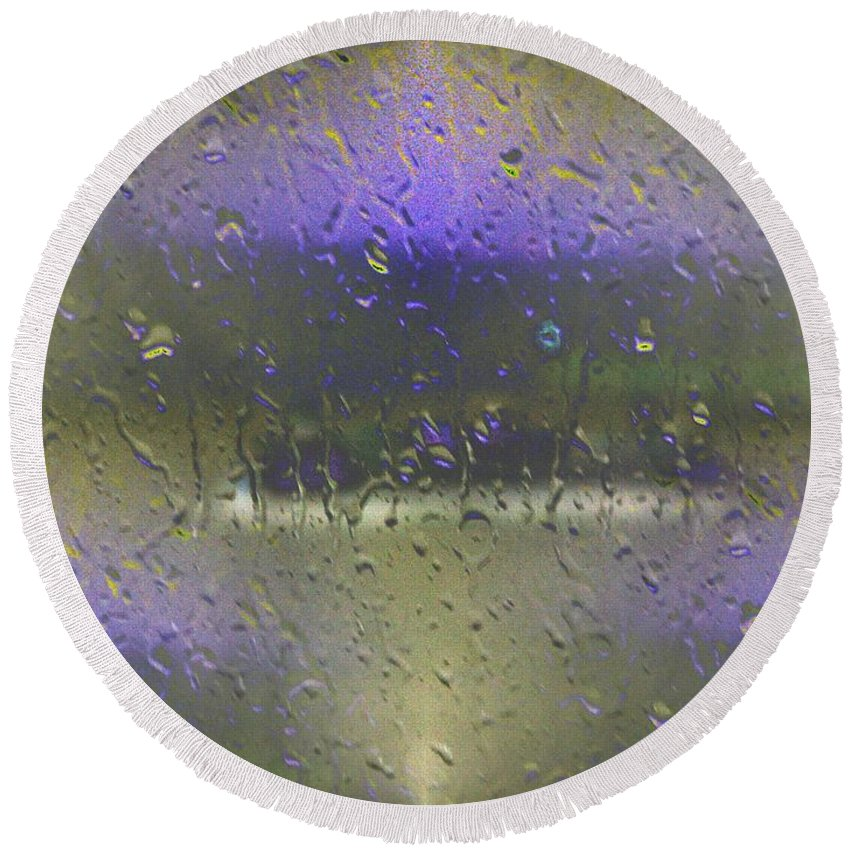 Seattle Round Beach Towel featuring the photograph Ferry In The Fog by Tim Allen