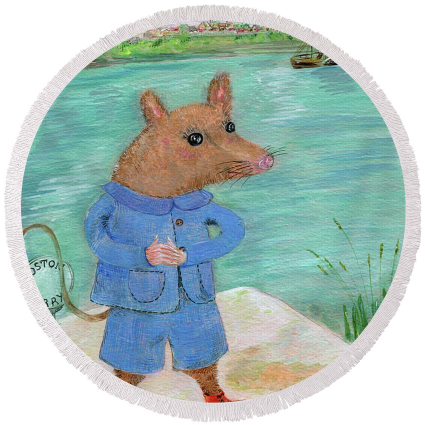 Mouse Round Beach Towel featuring the painting Ferry Mouse by Sue Wright