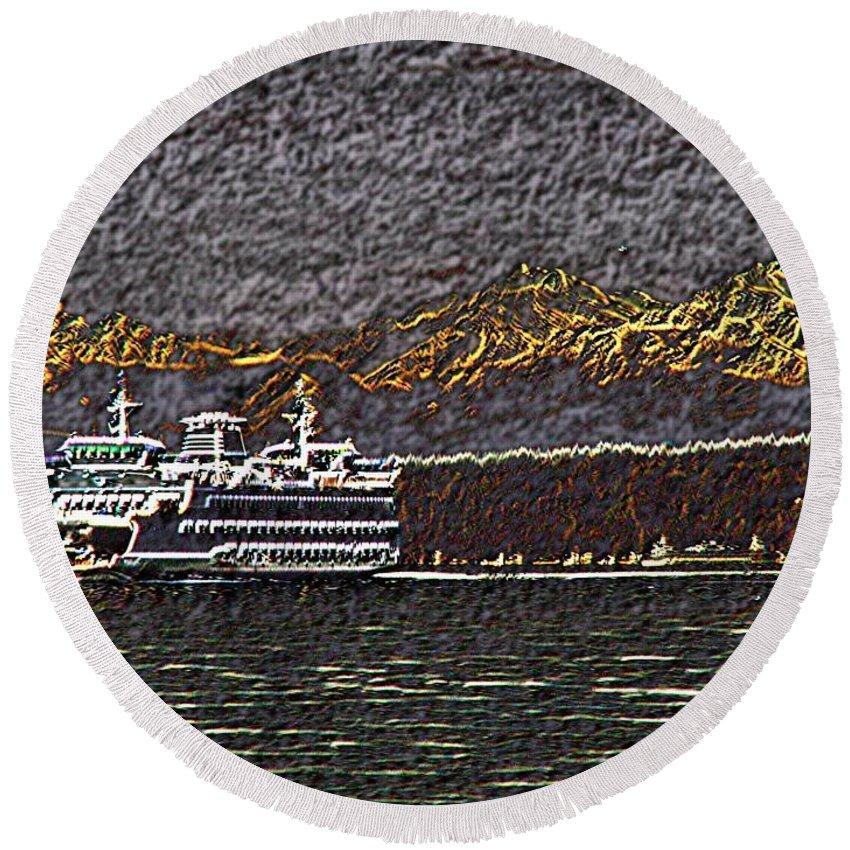 Ferry Round Beach Towel featuring the digital art Ferry On Elliott Bay 3 by Tim Allen