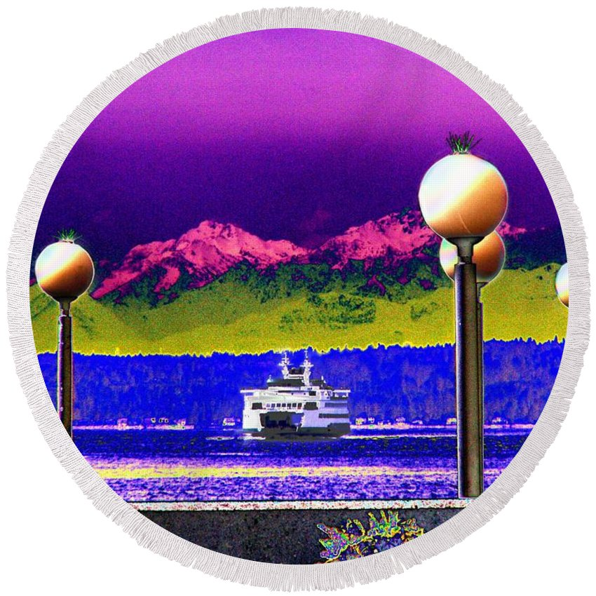 Seattle Round Beach Towel featuring the digital art Ferry On Elliott Bay by Tim Allen