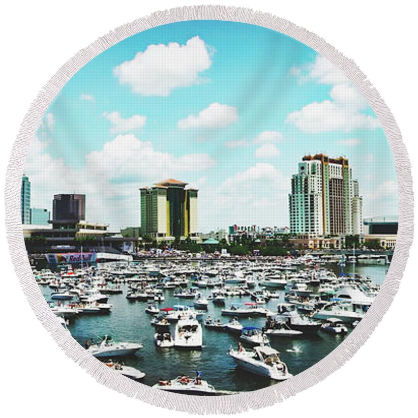 Tampa Round Beach Towel featuring the photograph Festive Tampa Bay by Pixabay