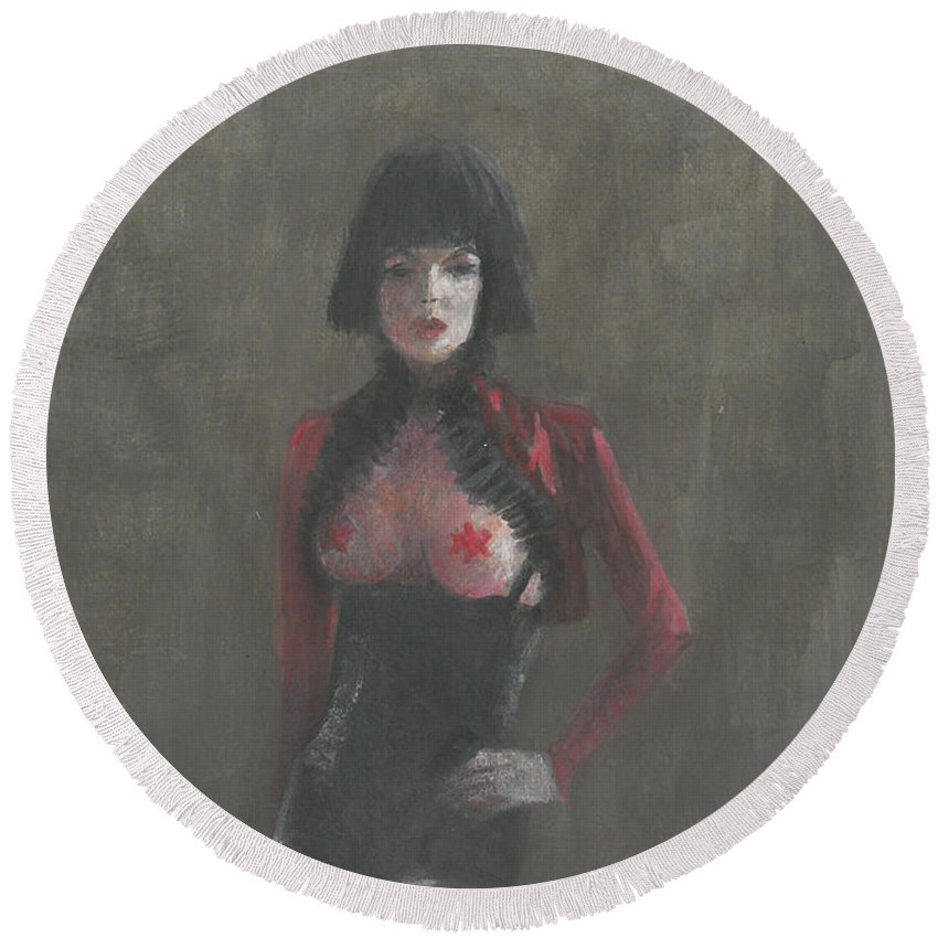 Dominatrix Round Beach Towel featuring the painting Fetish Artist by Lincoln Seligman