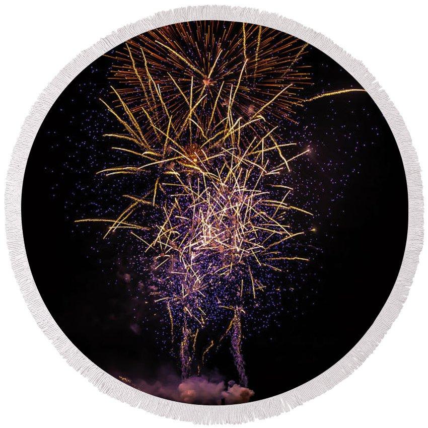Fireworks Round Beach Towel featuring the photograph Feu De La St Pierre by Kris Woo