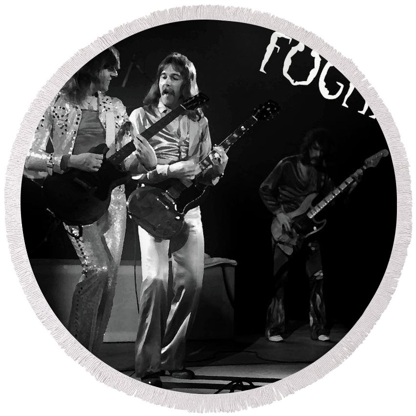 Foghat Round Beach Towel featuring the digital art Fhat#39 Enhanced Bw With Text #2 by Ben Upham