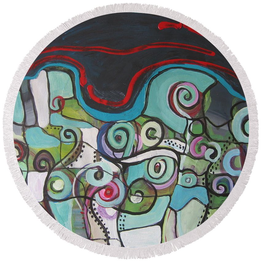 Fiddleheads Paintings Round Beach Towel featuring the painting Fiddleheads 5 by Seon-Jeong Kim