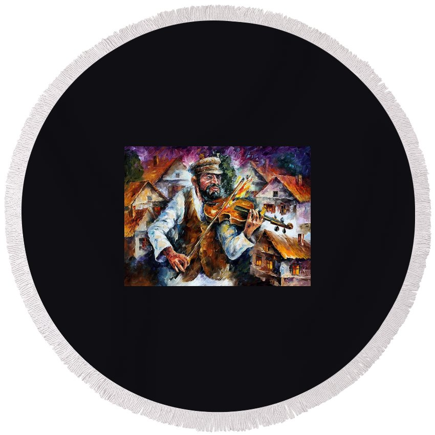 Judiac Round Beach Towel featuring the painting Fiddler From The Sky by Leonid Afremov