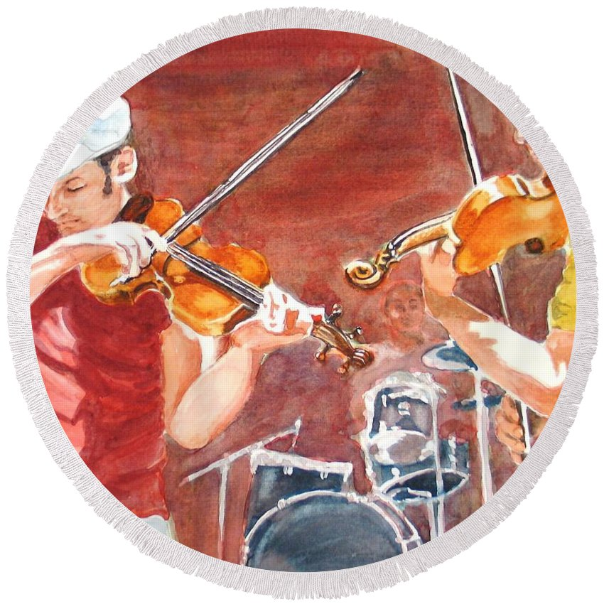 Musicians Round Beach Towel featuring the painting Fiddles by Karen Ilari