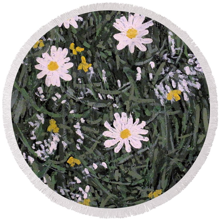 Daisies Round Beach Towel featuring the painting Field Daisies by Ian MacDonald