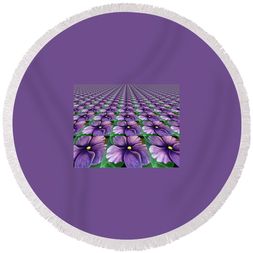 Digital Art Round Beach Towel featuring the digital art Field Of African Violets by Barbara Griffin