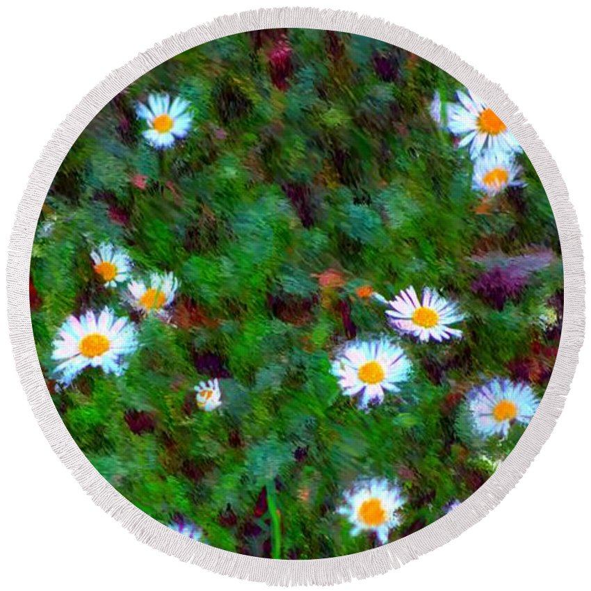 Digital Photograph Round Beach Towel featuring the photograph Field Of Daisys by David Lane