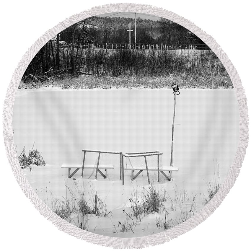 Hockey Round Beach Towel featuring the photograph Field Of Dreams by Doug Gibbons