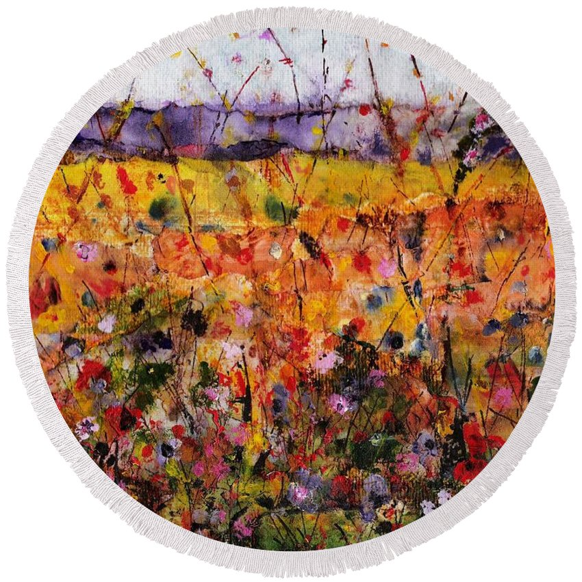 Flowers Round Beach Towel featuring the painting Field Of Dreams by Frances Marino