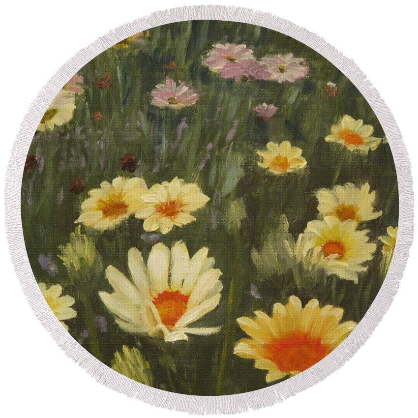 Flower Round Beach Towel featuring the painting Field Of Flowers by Lea Novak