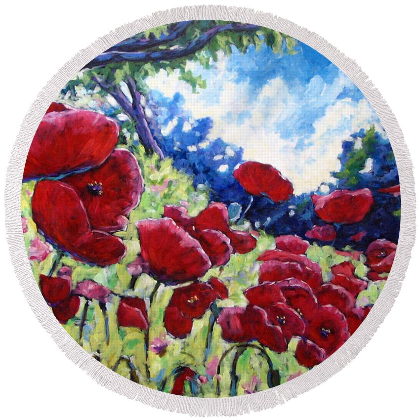 Poppies Round Beach Towel featuring the painting Field Of Poppies 02 by Richard T Pranke