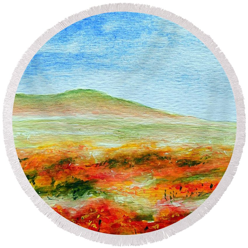 Poppy Round Beach Towel featuring the painting Field Of Poppies by Jamie Frier