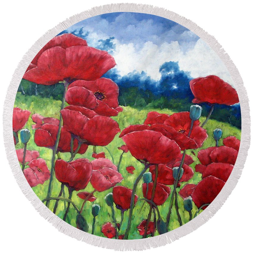 Poppies Round Beach Towel featuring the painting Field Of Poppies by Richard T Pranke