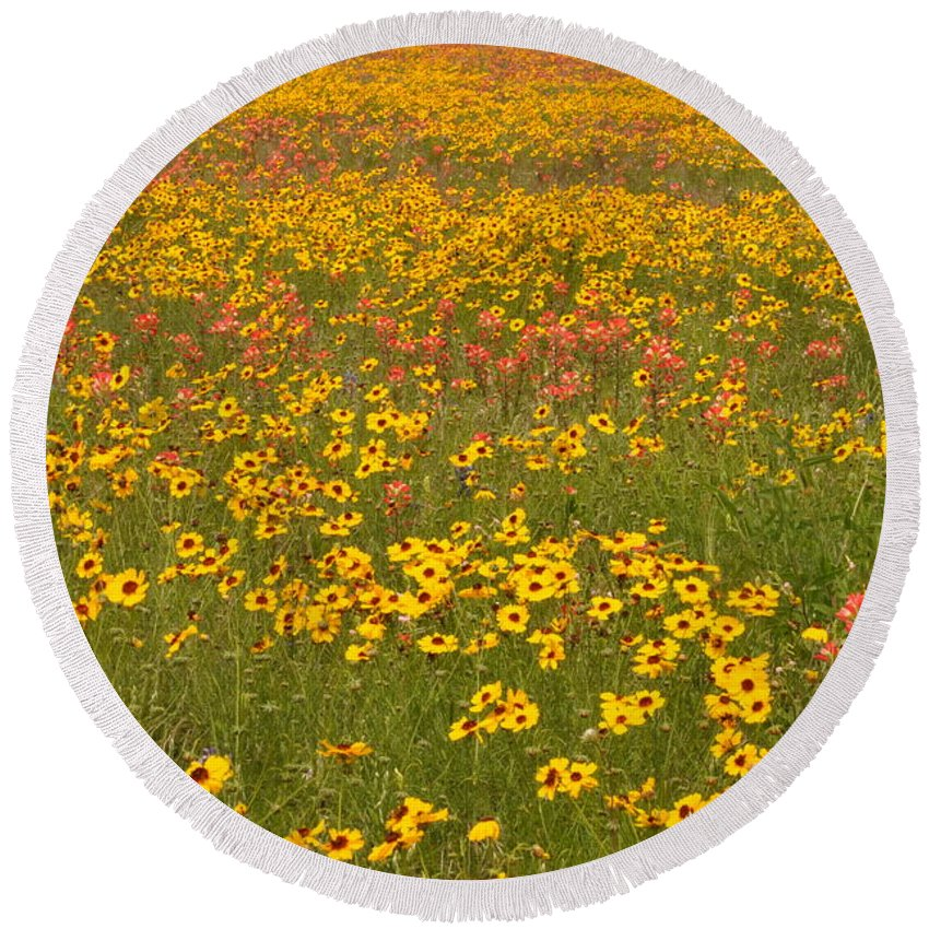 Texas Hill Country Round Beach Towel featuring the photograph Field of Spring Wildflowers by Frank Madia