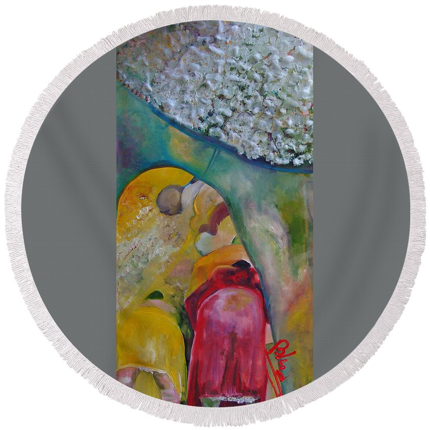 Cotton Round Beach Towel featuring the painting Fields Of Cotton by Peggy Blood