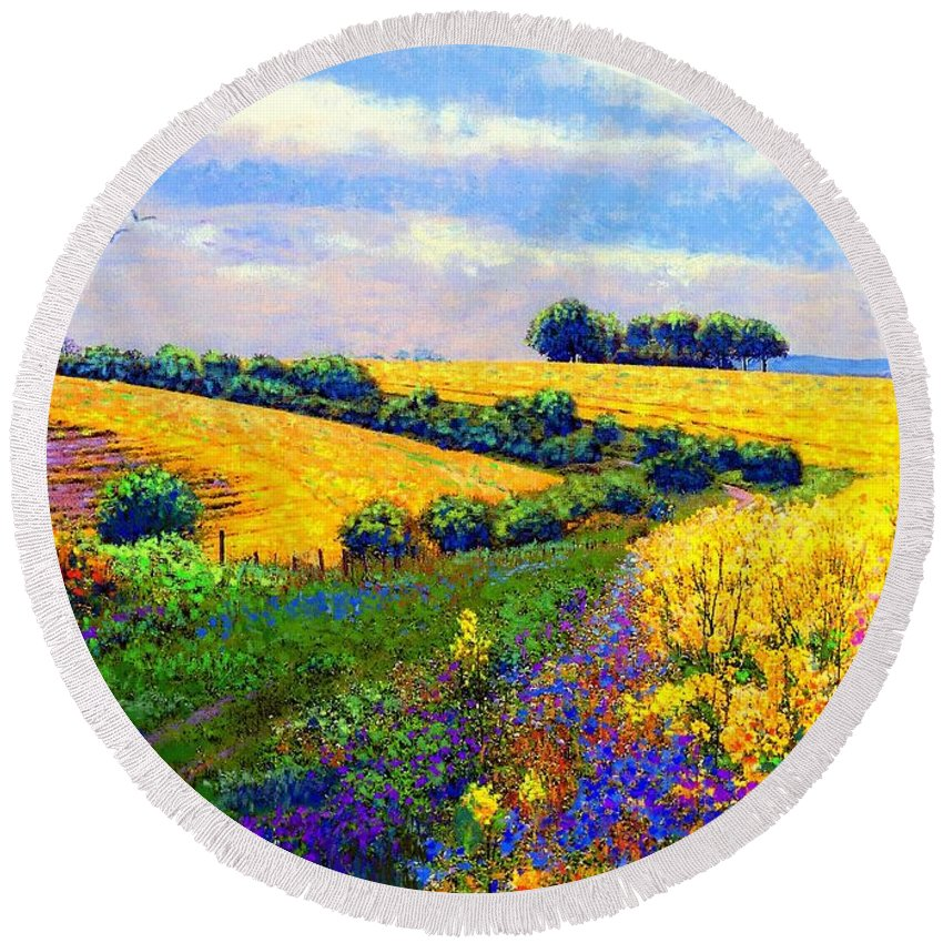 Sun Round Beach Towel featuring the painting Fields Of Gold by Jane Small