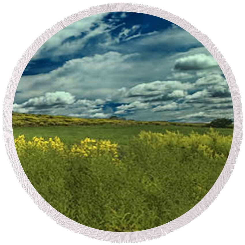 Golden Rod Round Beach Towel featuring the digital art Fields Of Gold by Karl Fritz