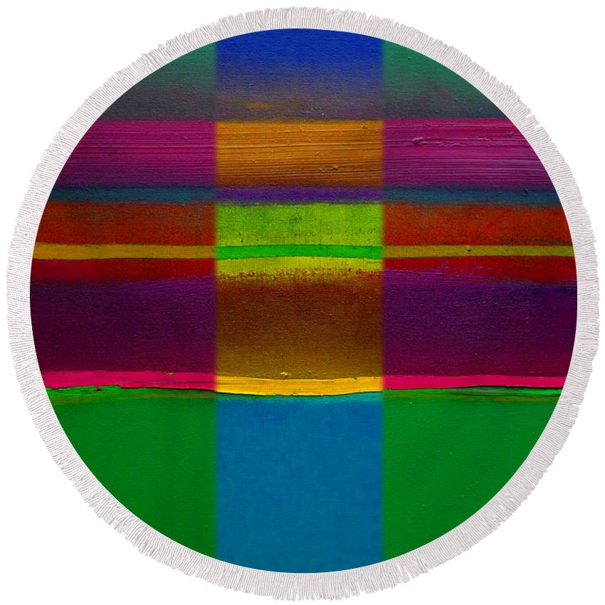 Landscape Round Beach Towel featuring the painting Fields Of Green by Charles Stuart