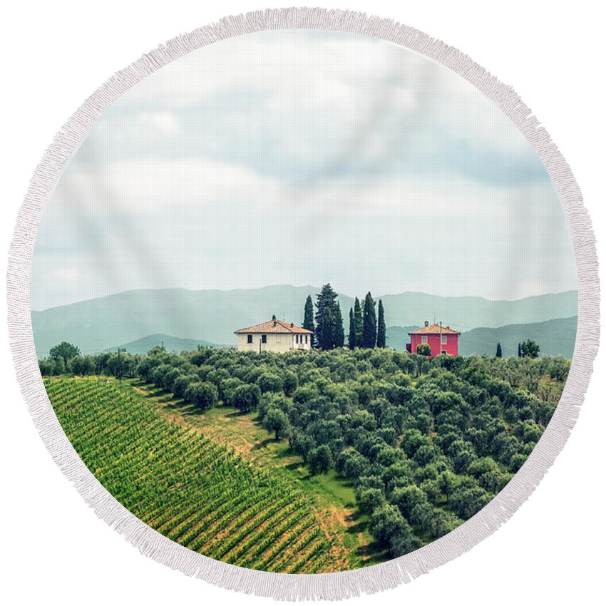 Kremsdorf Round Beach Towel featuring the photograph Fields Of Heavenly Delights by Evelina Kremsdorf