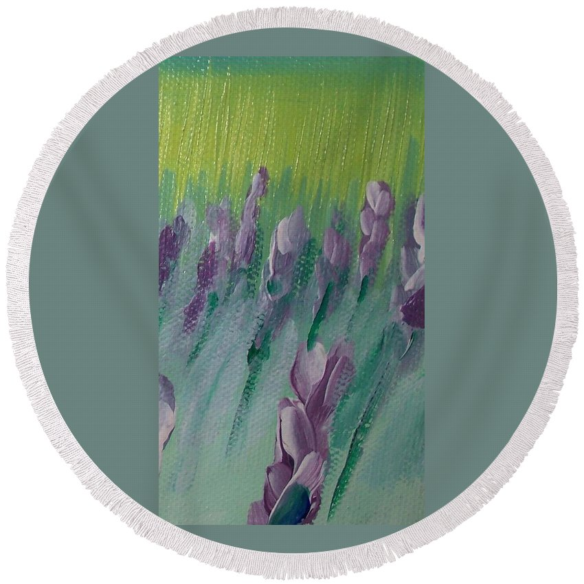 Fields Round Beach Towel featuring the painting Fields Of Lavender by Eric Schiabor
