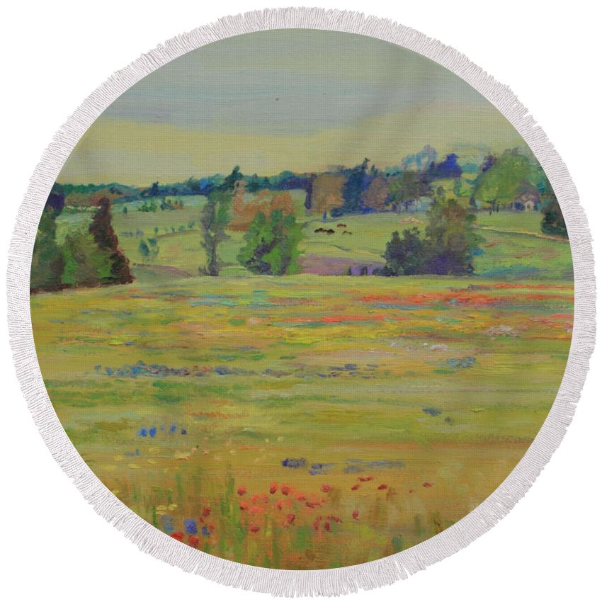 Texas Round Beach Towel featuring the painting Fields Of Texas Wildflowers by Maris Salmins