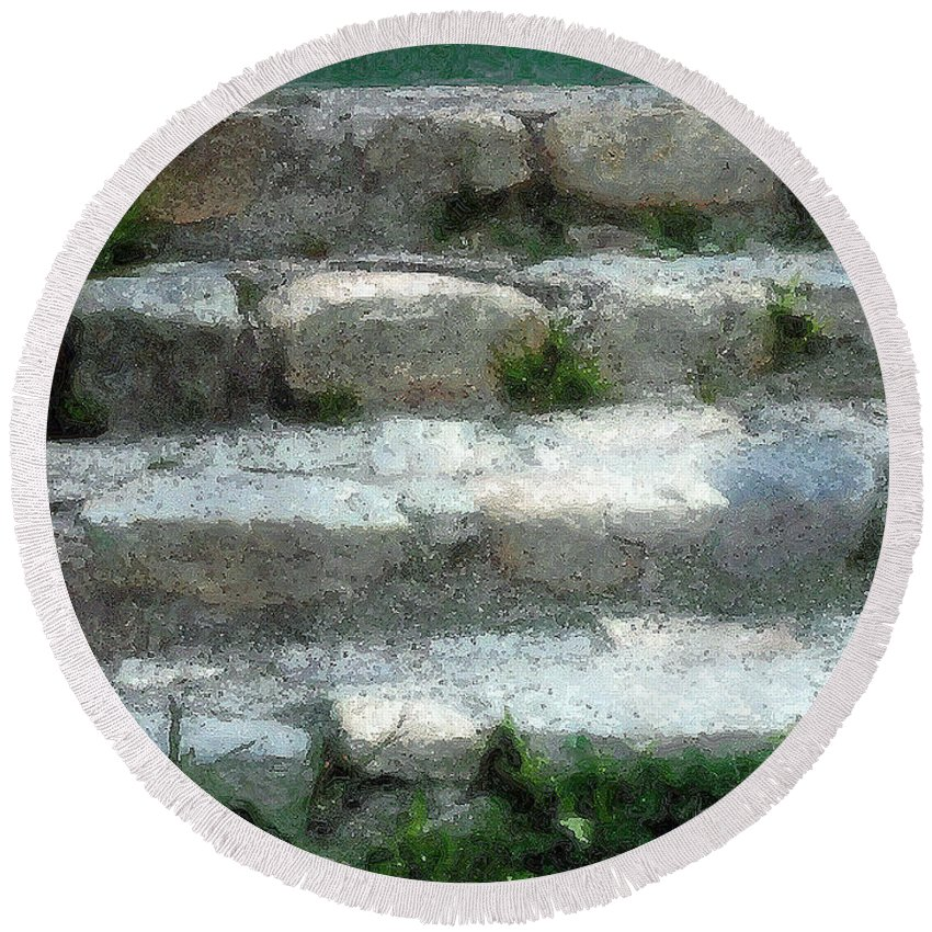 Connecticut Round Beach Towel featuring the digital art Fieldstone Stairs New England by RC DeWinter