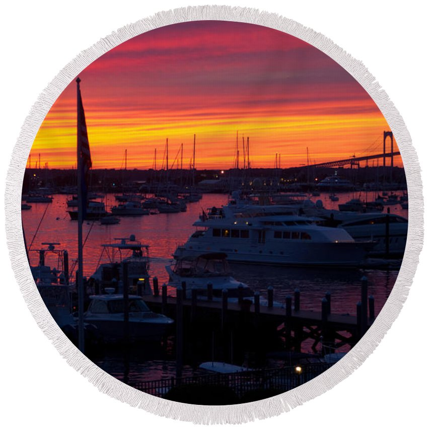 Newport Round Beach Towel featuring the photograph Fiery Harbor by Ray Konopaske