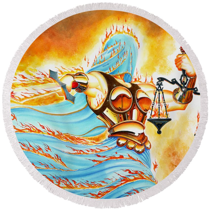 Fantasy Round Beach Towel featuring the drawing Fiery Justice by Melissa A Benson
