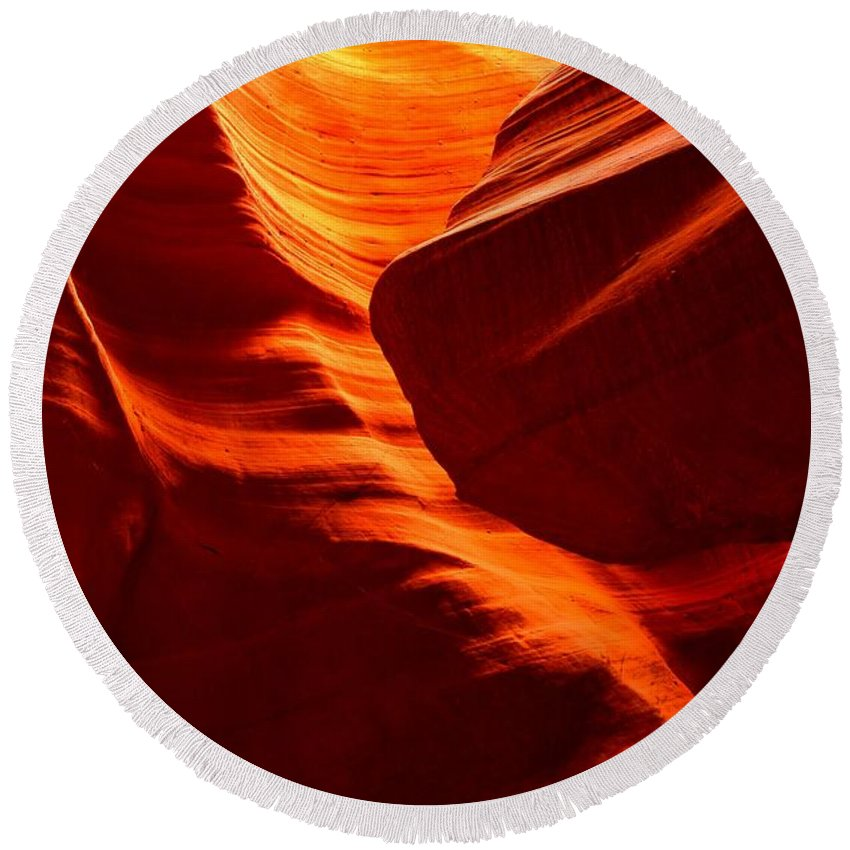 Sandstone Abstract Round Beach Towel featuring the photograph Fiery Sandstone Abstract by Adam Jewell