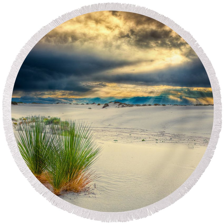 Dune Round Beach Towel featuring the photograph Fiery Sunrise At White Sands by Rikk Flohr