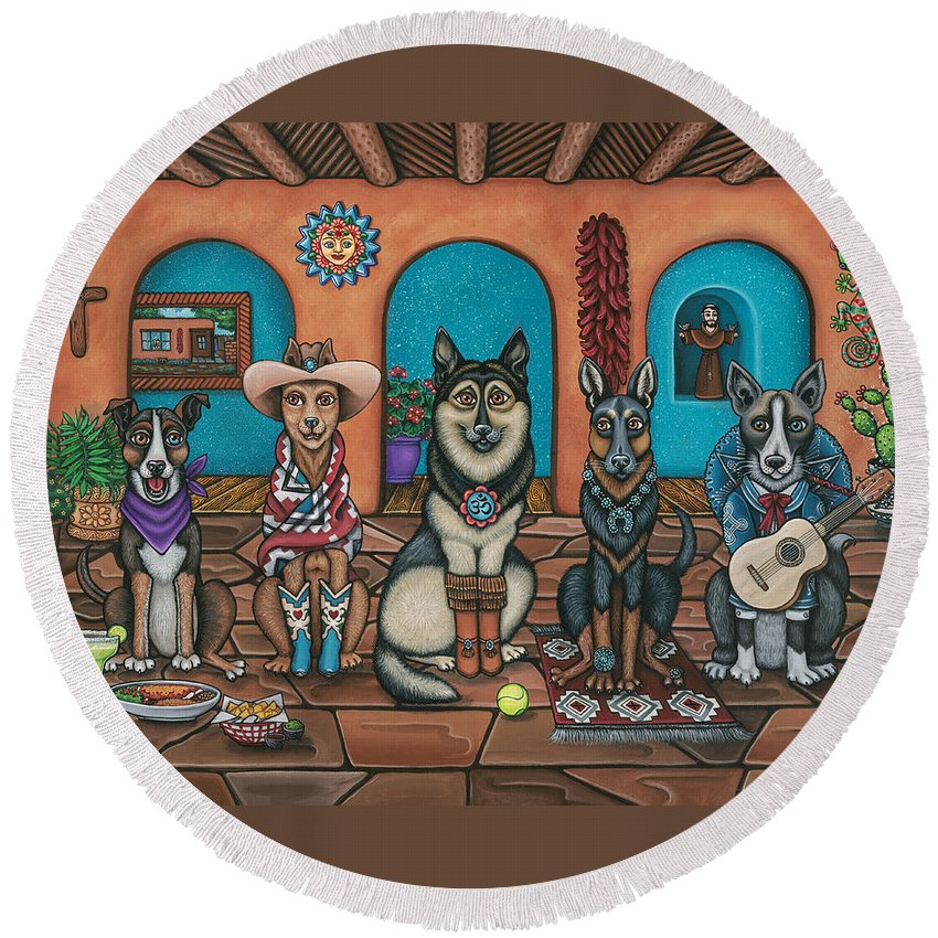 Dogs Round Beach Towel featuring the painting Fiesta Dogs by Douglas Jones