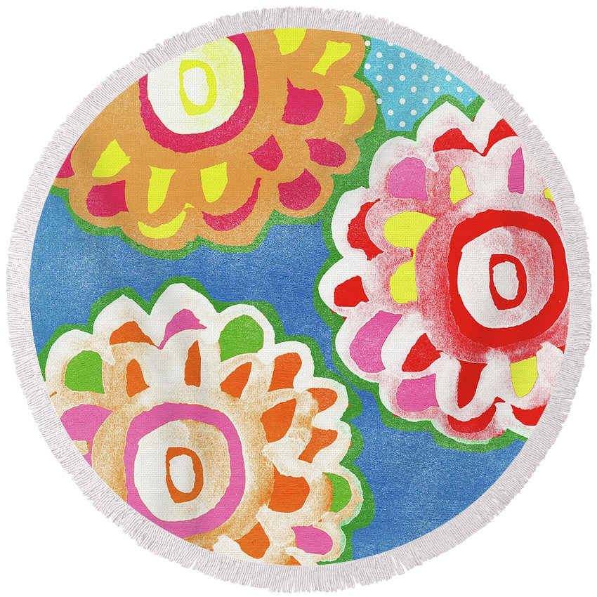 Flowers Round Beach Towel featuring the mixed media Fiesta Floral 3- Art by Linda Woods by Linda Woods