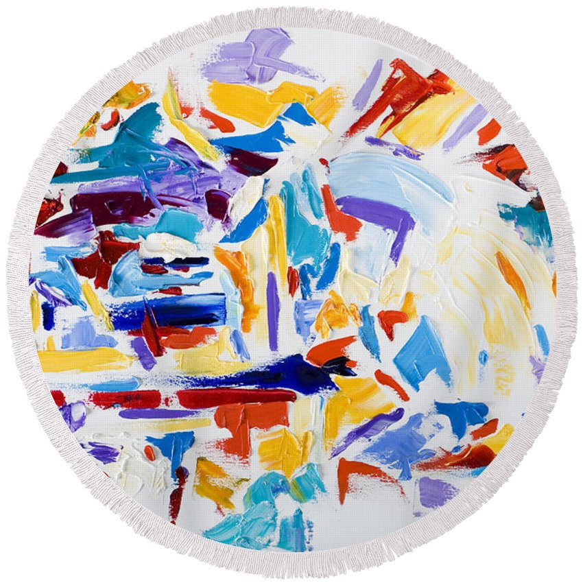 Abstract Yellow Round Beach Towel featuring the painting Fiesta by Shannon Grissom