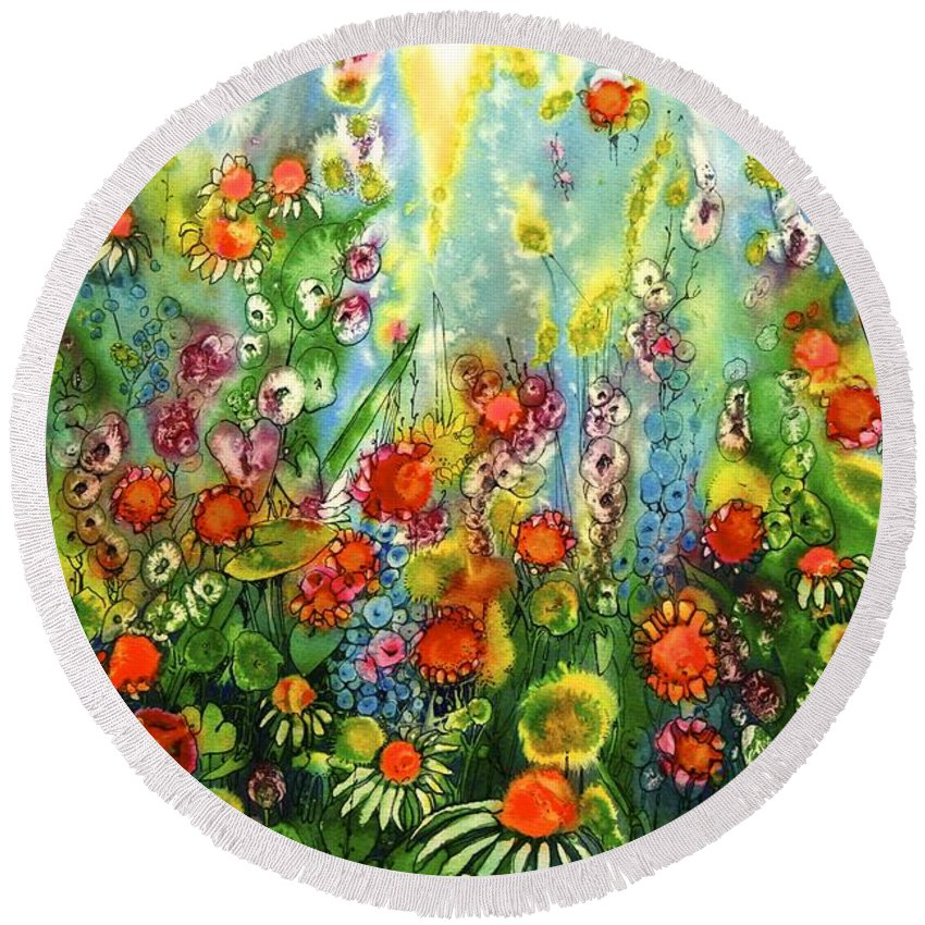 Floral Round Beach Towel featuring the painting Fiesta by Shirley Sykes Bracken