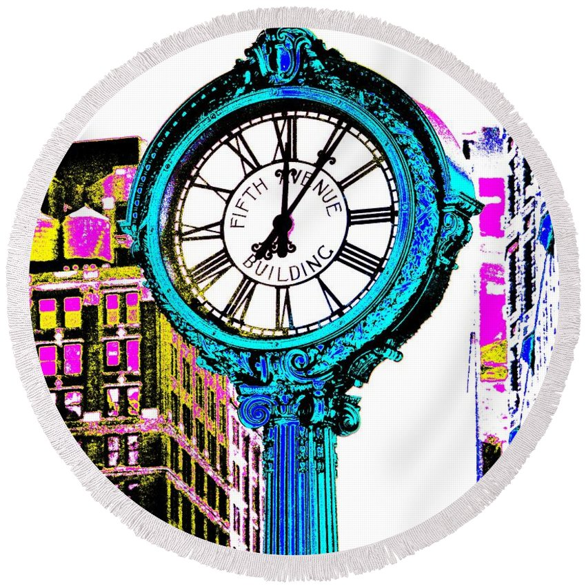 Fifth Avenue Building Clock New York Round Beach Towel featuring the photograph Fifth Avenue Building Clock New York by Marianna Mills